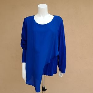 Vince Camuto Mixed Media Wrap Top Tunic XL
